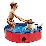 Ruiry Hundepool Doggy Pool Planschbecken Hundepool Für Großes Hunde Swimmingpool PVC Faltbares Pool Katzenpool Haustiere Badewanne rutschfest Verschleißfest Haustierpool mit Ablassventil 80 * 20CM