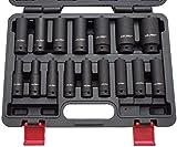 US PRO B1340 Kraft-Schlagschrauber-Nüsse 1/2' 10-32 mm Schlagnuss-Satz, 16 Stück