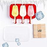 Silikon-Eis-Packung, Kreatives Eis Für Die Ganze Familie. Kaninchen 3 +50 Holzstöcke + Deckel