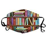 Clsr Bequemes gedrucktes Schild, Digitale Zeichnungsgrafik der Hauptbibliothek mit Büchern über Verschiedene Themen Bild, Winddichte Gesichtsdekorationen für Mann und Frau
