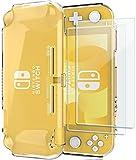 ProCase Schutzhülle + (2 Stück) Displayschutzfolien für Nintendo Switch Lite 2019, Weich dünn TPU Stoßfest Klar Hülle + 2 Hartglas Blasenfrei Displayschutzfolien aus gehärtetem Glas –Klar