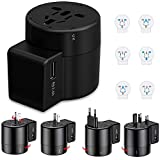Stromrichter Für International Travel, Universal International Power Adapter 2USB Mit Schutz, EU/UK/CN/AU,Schwarz
