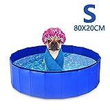 GoPetee Hundepool für Hunde Swimmingpool Planschbecken Hundebadewanne Haustierpool mit Ablassventil Katzenpool Faltbare Haustiere Badewanne (S, Blau)