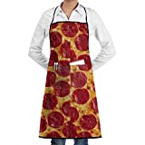 jrtyjrdtyj Grillschürzen,Küchenschürze Salami Slice Pizza Adjustable Apron for Mens and Womens Professional Polyester Kitchen Apron with Pocket Waiter