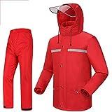 SXZHSM Regenjacke Jacke Hosen Anzug Arbeit Camping Angeln Männer und Frauen wasserdichte Anzug Wasserdichter Regenponcho (Color : Red, Size : XXXXL)