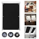 iKINLO Thermo Sonnenschutz Dachfensterrollo für Velux Dachfenster CK04 ohne Bohren Verdunklungsrollo Rollo UV Schutz mit Saugnäpfe, Schwarz 38 x 75 cm