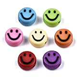 Sadingo Smiley Perlen Bunt 7mm 100 Stück Perlenarmbänder selber Machen, Bastelperlen, Kunststoffperlen für Kinderschmuck