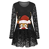 LILICAT Damen Oberteile Casual Rundhals Langarm Shirts Tops Weihnachten Elch Print Lace Sweatshirts Pullover Mode Elegant Langarmshirt Patchwork Bluse Tunika Tops