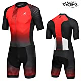 NUCKILY Triathlonanzug Herren Racing Tri Radfahren Skin Suit Bike Swim Run