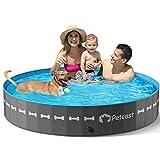 Peteast Hundepool für Große & Kleine Hunde, 160cm Faltbarer Planschbecken, PVC Verdicken Hund Schwimmbecken rutschfest Verschleißfest, ideal für Hundebadewanne