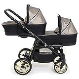 BBtwin Onyx Tandem 3-in-1 Kombikinderwagen für Neugeborene bis 3 Jahre (Kupfer)