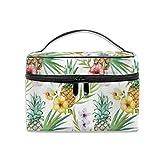Tragbarer Reise-Kulturbeutel, Organizer, Topische Aquarell-Hibiskusblüten, Ananas-Kosmetiktasche für Damen, Mädchen, Make-up-Tasche, Aufbewahrungstasche