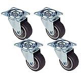 HRB 4er Set Lenkrollen, Möbelrollen klein mit max. Tragkraft 100 Kg/Rollensatz, drehbare Rollen für Möbel mit Rad Ø 40 mm, Gehäuse aus Stahl mit gummierten Räder