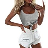 Lulupi Damen Crop Top Bauchfrei Rundhals Shirt Oberteil Sport Push Up BH-Top Bustier Sexy Lssig...