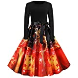 Zottom Weihnachten Abendkleid Bow Decoration Frauen Langarm Weihnachten Print Swing Dress Abendkleid(z-Rot,X-Large)