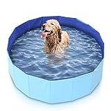 Mirtillo & Memole Hundepool, Kleiner Pool, großer XL-Pool, Pool für große Hunde, Klapppool, extra großer hoher Pool, starrer Hundepool, Minipool, starre Außenpools (160 x 30, Blau)