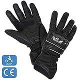 Winter-Motorradhandschuhe, 2KP-zertifizierte wasserdichte Winterhandschuhe, wasserdicht und thermisch mit 3M Thinsulate, echtem Leder und Textil, Mehrfachverstärkungen und -schutz, Damen u