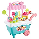 K9CK Kinder Eisdiele, Abnehmbar Eiswagen mit Zubehör Eisverkaufswagen mit Musik und Licht Geschenk für Mädchen Spielzeug ab 2 Jahren