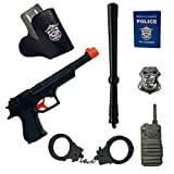 24costumes Polizei Kostüm Spielzeug 7-teiliges Set   ideal Kinder für Karneval & Fasching   Pistole,, Schlagstock, Handschellen, Notizbuch, Funkgerät, Marke