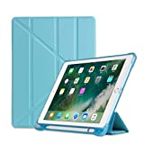 LukameTablet Case-New Ultradünne Smart Ledertasche Stand Case Magnetic Für Ipad 9.7 2018/2019+Anti-Fall-Half-Stick-Multi-Fold-Ledertasche (Himmelblau)