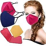 Cussi - Wiederverwendbare Hygienische Stoffmaske, zertifiziert UNE 0065:20 und BFE zertifiziert 99 %, waschbar bis zu 20 Zyklen – Packung mit 2 Masken, Etui, extra Filter (Fuchsia, Marineblau)