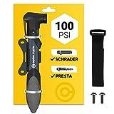 Mini Fahrradpumpe für Allen Ventile Luftpumpe Fahrrad 21,6cm 120 PSI 8.3 Bar Kleine Praktische Tragbare 140 g Fahrrad Pumpe Handpumpe mit Rahmenbefestigung und Klettverschluss für Unterwegs