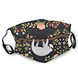 Bokueay Gesichtsabdeckung Sloth Face Cover Cute Mouth Protection Animal Face Bandanas Adjustable Comfortable Dust Filter for Women Men Kids White