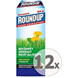 Gardopia Sparpaket: Roundup Rasen-Unkrautfrei Konzentrat Unkrautvernichter, 12 x 500 ml + Zeckenzange mit Lupe