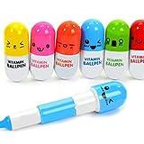 U/K Hochwertig6pcs Mini Retractable Vitamin Pille Stift mit sechs niedlichen Emoticons Neuheit Kapsel Kugelschreiber zugunsten Geschenk zufällige Farbe langlebig und nützlich