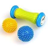 Mihify Massageball-Set, 3 Stachelmassage-Bälle und Roller, Fußmassagegerät, Lacrosse-Bälle mit Spike, Selbstauslöserpunkt-Roller für Arm, Nacken, Schulter