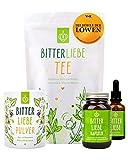 BitterLiebe® Premium Paket mit BitterLiebe Tropfen (50ml) Kapseln (90Stk.) Pulver (100g) und Kräutertee (100g) I Bitterstoffe aus Die Höhle der Löwen