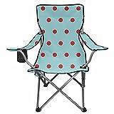 NETILGEN Liegestuhl mit blauem Punktemuster, Campingstuhl, zum Angeln, faltbar, Strandstühle, mit Getränkehalter und Taschen