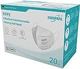 EUROPAPA 20x FFP2 Atemschutzmaske 5-Lagen Staubschutzmasken hygienisch einzelverpackt CE Stelle zertifiziert Mundschutzmaske EU 2016/425