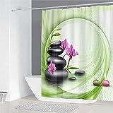 XCBN Bambus fließendes Wasser grün Bambus Duschvorhang Vorhang wasserdicht und schimmelresistent Trennwand trocken und nass Trennvorhang A9 180X180CM