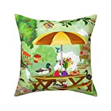 Cotton Throw Pillow Case Cushion Covers Burgers Hot Dogs and Quackers 18 x 18 inches