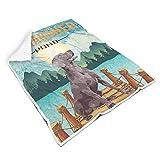 LAOAYI Weimaraner Teich Poster Decke, Neuheits Coral Fleece Kuscheldecke, Weiches Mikrofaser Riesentuch in vielen Größen erhältlich White 150x200cm