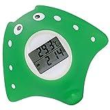 Badethermometer Baby, Wasserthermometer Baby, Badethermometer Baby digital, mit LED Warnalarm, Uhr- und Timerfunktion, Fisch Design,dunkelgrün