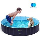 amzdeal Hundepool Schwimmbad - Faltbares Doggy Pool, 100% Umweltfreundliche PVC, Rutschfest Schwimmbad für Hunde und Katzen, Hunde Planschbecken für Indoor und Outdoor geeignet, 160 × 30 cm