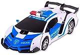 Zhangl RC verformter Polizeiauto Spielzeug der Kinder Racing Modell EIN-klick-Deformation Charging 4-Kanal-Sport-Auto-Lichter Sounds 360 ° Rotation Drift Transformers Autobots