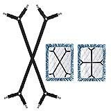 WADEO Verstellbare Elastische Bettlakenspanner Bettlakenklammer, Matratzenklammern mit Langen Spannbändern, für Laken, Spannbettlaken, Matratzenschoner, Schwarz, 2 Stück