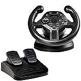 A&DW Game Racing Lenkrad und Pedale,2-Achsen-Variablen D-PAD und 10 unabhängige Tasten, kompatibel mit PS3 / PC (D-Eingang/X-Eingang)