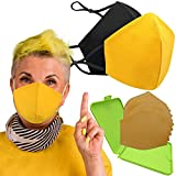 Cussi - Wiederverwendbare Hygienische Stoffmaske, zertifiziert UNE 0065:20 und BFE zertifiziert 99 %, waschbar bis zu 20 Zyklen – Packung mit 2 Masken, Etui, extra Filter (MOSTAZA)
