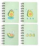 Yansanido Mini-Notizbücher mit Spiralbindung, Grün, Avocado-Notizbuch, Memo-Spiralbindung, 8,9 x 10,3 cm, 4 Stück