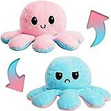 Oktopus Wendeplüsch, niedlich, gefüllt, Stimmung, Oktopus, Teddy? Doppelseitig, wendbar, Oktopus, Plüsch, um Emotionen zu zeigen, Tierpuppe, Spielzeug für Baby, Mädchen, Jungen (blau-rosa)