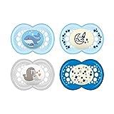 MAM Day & Night Schnuller-Set im 4er-Set, 2x MAM Original und 2x MAM Night, zahnfreundlicher Silikonschnuller aus speziellem MAM SkinSoft Silikon mit Schnullerbox, 6 - 16 Monate, blau