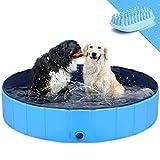 GoStock Hundepool Schwimmbecken Faltbarer Hund Planschbecken Swimmingpool Kinderpool Hundebadewanne Doggy Pool für Großes Haustier Hund Katze Kinder PVC rutschfest (Bonus Haustier Badebürste) 39'x12'