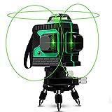 Kreuzlinienlaser 25M, Careslong 3 x 360 grüner Laserpegel selbstausgleichende, grüner Strahl 3D 12 Linien, IP 54 Selbstnivellierende Vertikale und Horizontale Linie (inklusive 2pcs Batterie)