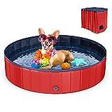 LC&TEAM Hundebadewanne faltbar Hundepool klein Schwimmbecken PVC Planschbecken Hund Swimmingpool rutschfest Duschbecken 80x20CM - rot