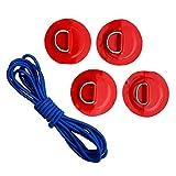 B Baosity 4er Pack Edelstahl D-Ring mit Pad Patch und Bungee-Seil Boot Kajak Kanu SUP Hardware - Rot