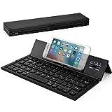 Wesimplelife Bluetooth Tastatur Faltbare QWERTZ Layout Kabellose Kleine Keyboard Ultradünn Portable Falttastatur Kabellos Kompatibel für Android Smartphone Tablet Notebook iPad Windows